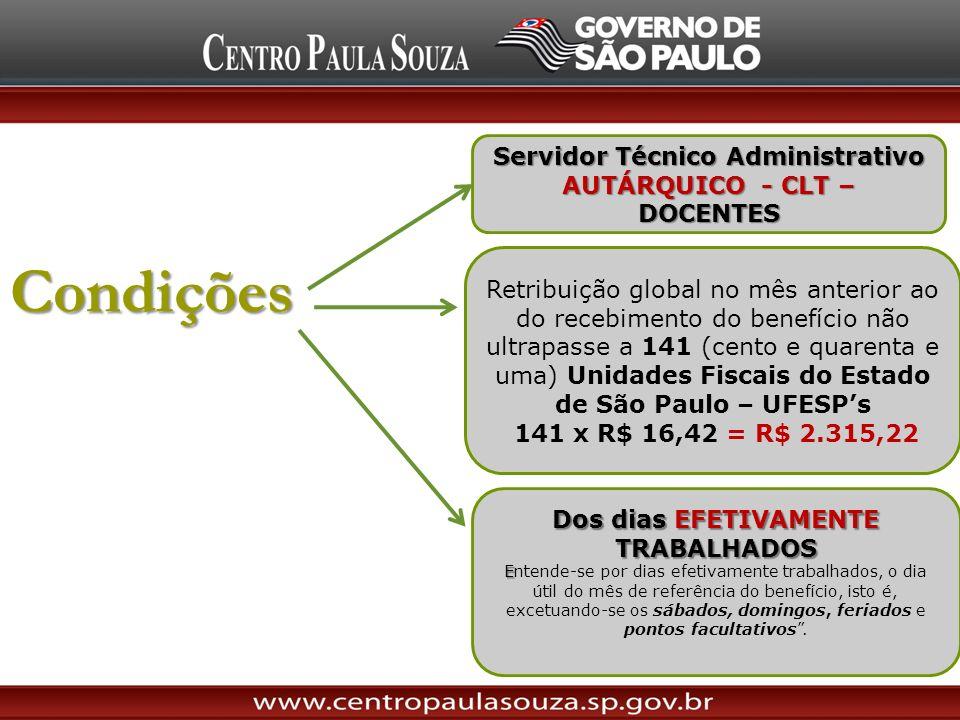Condições Servidor Técnico Administrativo AUTÁRQUICO - CLT – DOCENTES Dos dias EFETIVAMENTE TRABALHADOS E Entende-se por dias efetivamente trabalhados