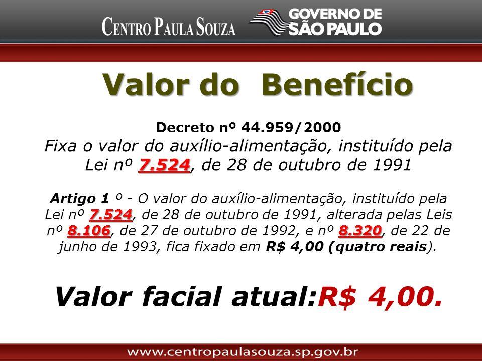 Valor do Benefício Decreto nº 44.959/2000 7.524 Fixa o valor do auxílio-alimentação, instituído pela Lei nº 7.524, de 28 de outubro de 1991 7.524 8.10