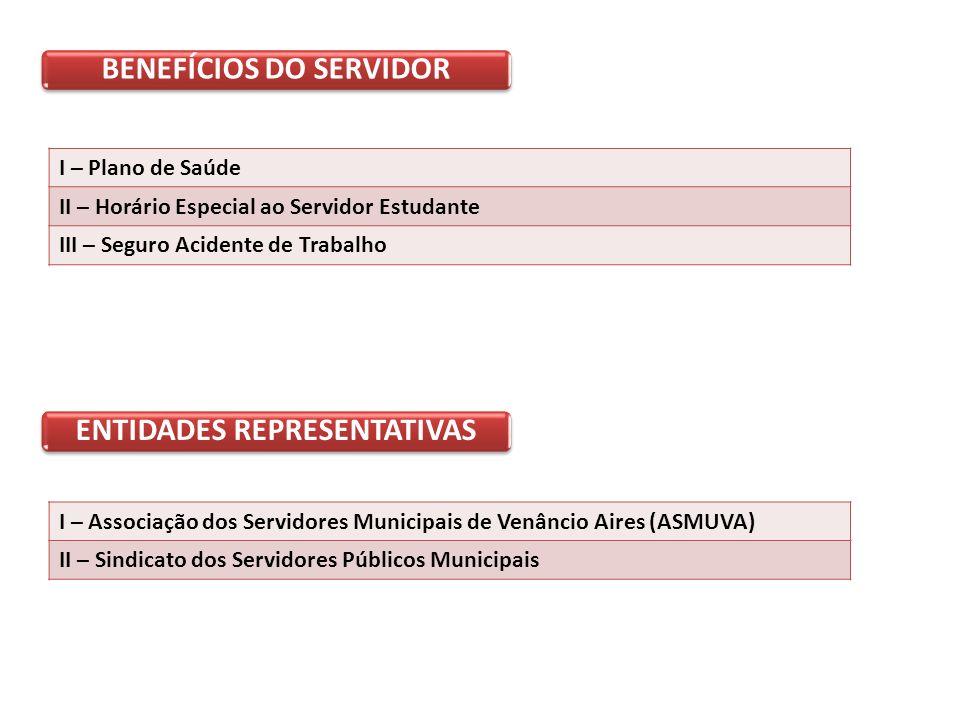 BENEFÍCIOS DO SERVIDOR I – Plano de Saúde II – Horário Especial ao Servidor Estudante III – Seguro Acidente de Trabalho ENTIDADES REPRESENTATIVAS I – Associação dos Servidores Municipais de Venâncio Aires (ASMUVA) II – Sindicato dos Servidores Públicos Municipais