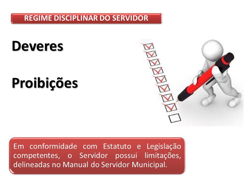 REGIME DISCIPLINAR DO SERVIDOR DeveresProibições Em conformidade com Estatuto e Legislação competentes, o Servidor possui limitações, delineadas no Manual do Servidor Municipal.