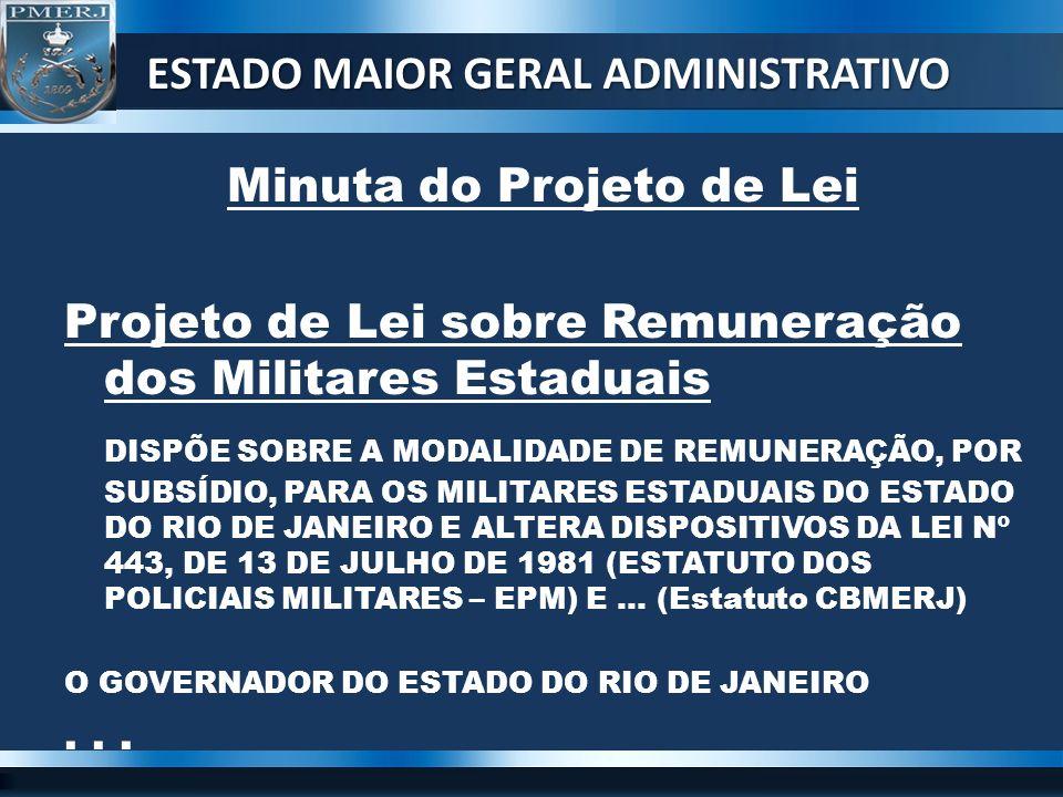 Minuta do Projeto de Lei Projeto de Lei sobre Remuneração dos Militares Estaduais DISPÕE SOBRE A MODALIDADE DE REMUNERAÇÃO, POR SUBSÍDIO, PARA OS MILI