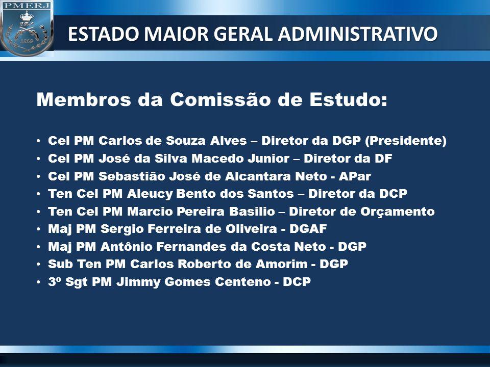 Membros da Comissão de Estudo: Cel PM Carlos de Souza Alves – Diretor da DGP (Presidente) Cel PM José da Silva Macedo Junior – Diretor da DF Cel PM Se