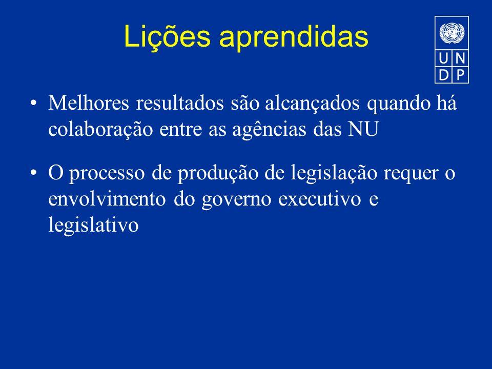 Lições aprendidas Melhores resultados são alcançados quando há colaboração entre as agências das NU O processo de produção de legislação requer o envolvimento do governo executivo e legislativo