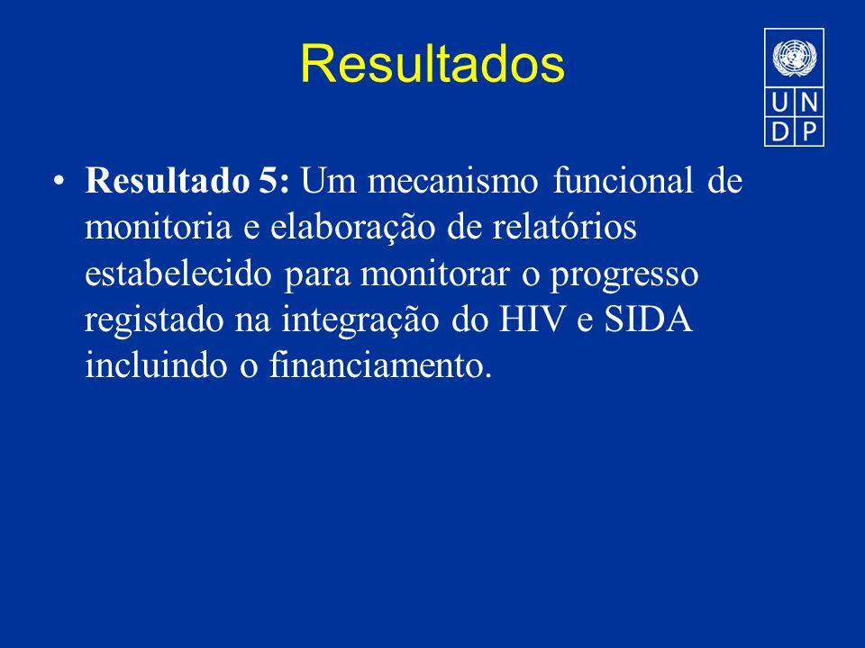 Resultados Resultado 5: Um mecanismo funcional de monitoria e elaboração de relatórios estabelecido para monitorar o progresso registado na integração do HIV e SIDA incluindo o financiamento.