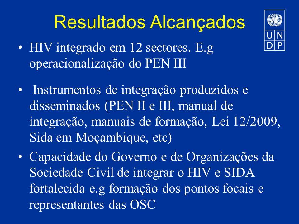 Resultados Alcançados HIV integrado em 12 sectores.