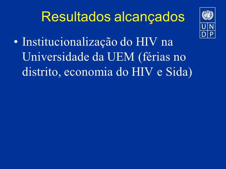 Resultados alcançados Institucionalização do HIV na Universidade da UEM (férias no distrito, economia do HIV e Sida)