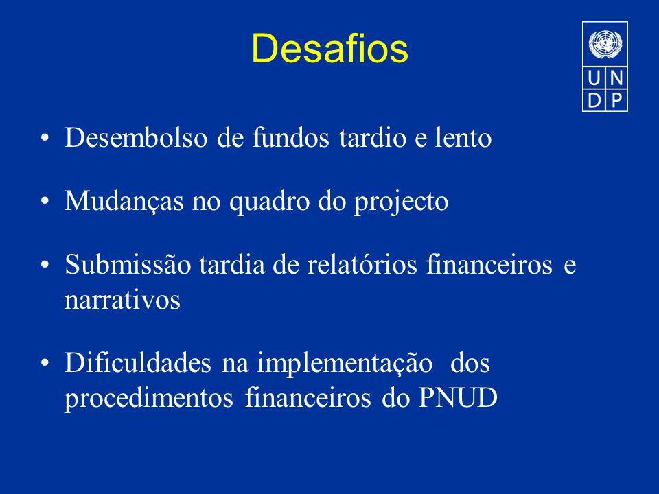 Desafios Desembolso de fundos tardio e lento Mudanças no quadro do projecto Submissão tardia de relatórios financeiros e narrativos Dificuldades na implementação dos procedimentos financeiros do PNUD