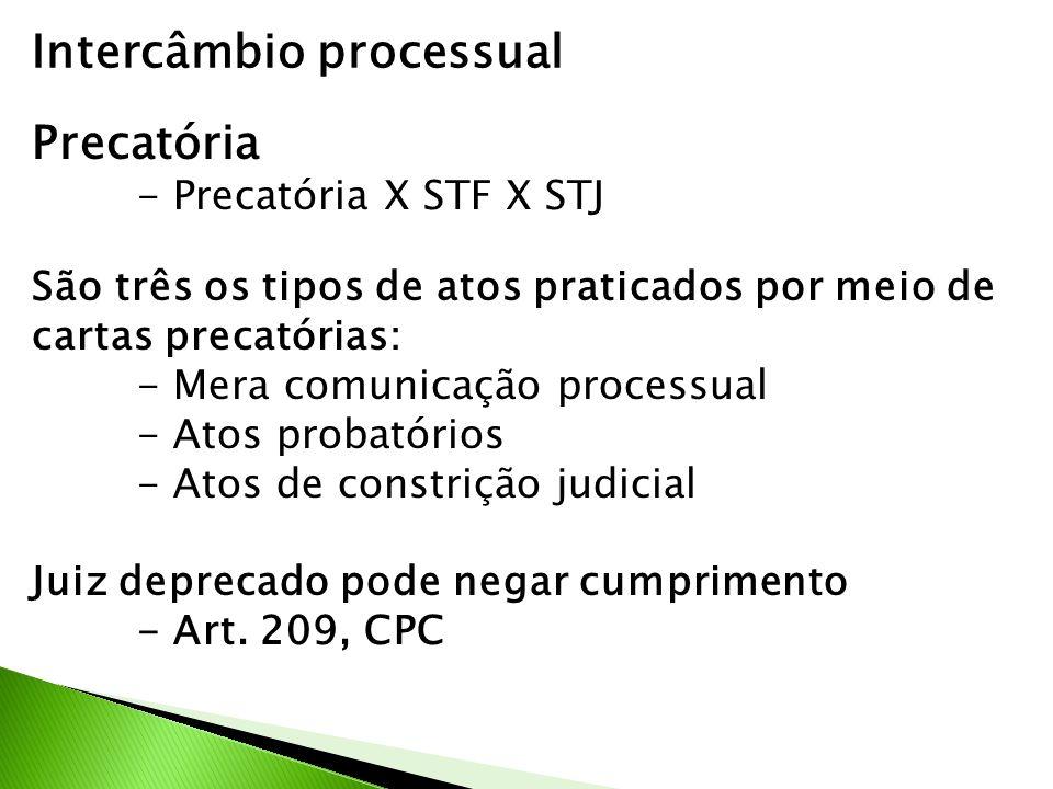 Intercâmbio processual Precatória - Precatória X STF X STJ São três os tipos de atos praticados por meio de cartas precatórias: - Mera comunicação processual - Atos probatórios - Atos de constrição judicial Juiz deprecado pode negar cumprimento - Art.