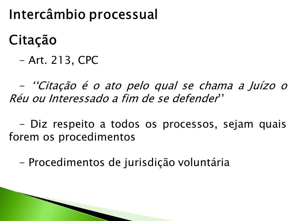 Intercâmbio processual Citação - Art. 213, CPC - Citação é o ato pelo qual se chama a Juízo o Réu ou Interessado a fim de se defender - Diz respeito a
