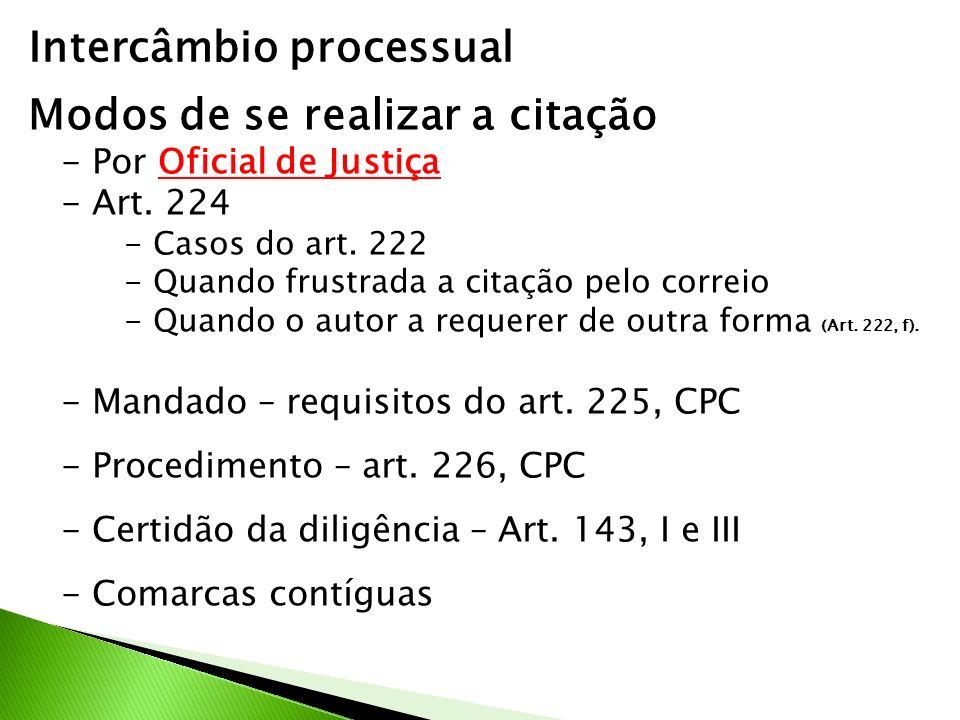 Intercâmbio processual Modos de se realizar a citação - Por Oficial de Justiça - Art.