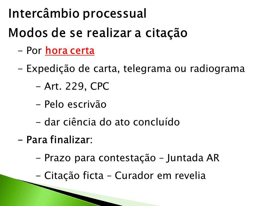 Intercâmbio processual Modos de se realizar a citação - Por hora certa - Expedição de carta, telegrama ou radiograma - Art. 229, CPC - Pelo escrivão -