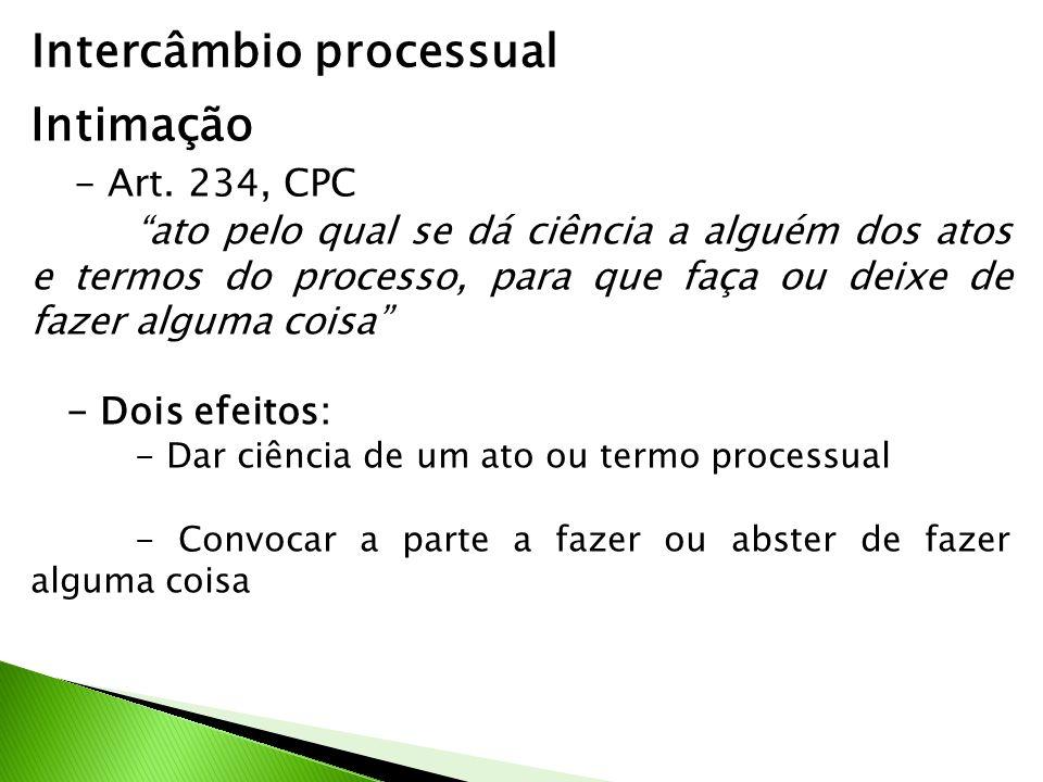 Intercâmbio processual Intimação - Art. 234, CPC ato pelo qual se dá ciência a alguém dos atos e termos do processo, para que faça ou deixe de fazer a