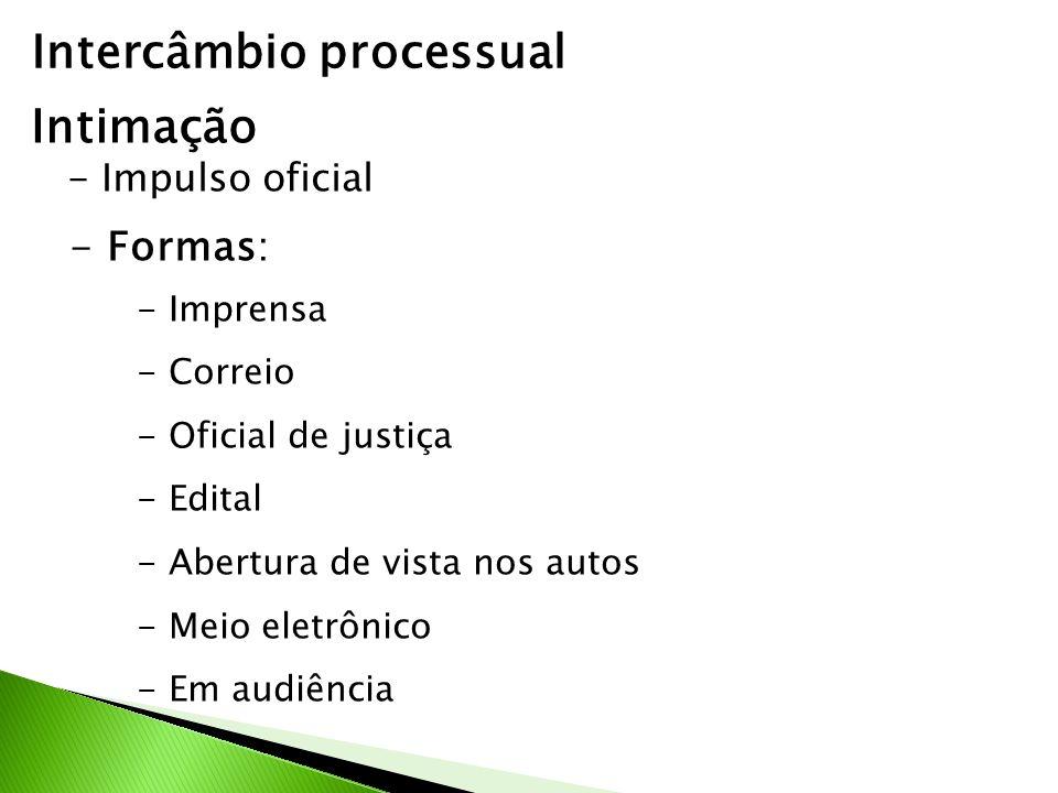 Intercâmbio processual Intimação - Impulso oficial - Formas: - Imprensa - Correio - Oficial de justiça - Edital - Abertura de vista nos autos - Meio eletrônico - Em audiência