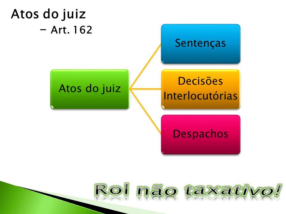 Atos do juiz - Art. 162 Atos do juizSentenças Decisões Interlocutórias Despachos