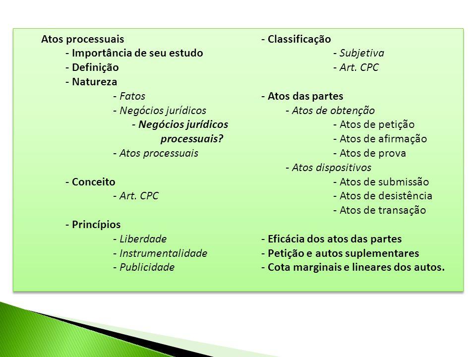 Atos processuais - Importância de seu estudo - Definição - Natureza - Fatos - Negócios jurídicos - Negócios jurídicos processuais? - Atos processuais