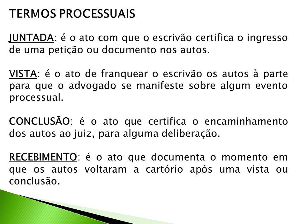 TERMOS PROCESSUAIS JUNTADA: é o ato com que o escrivão certifica o ingresso de uma petição ou documento nos autos.