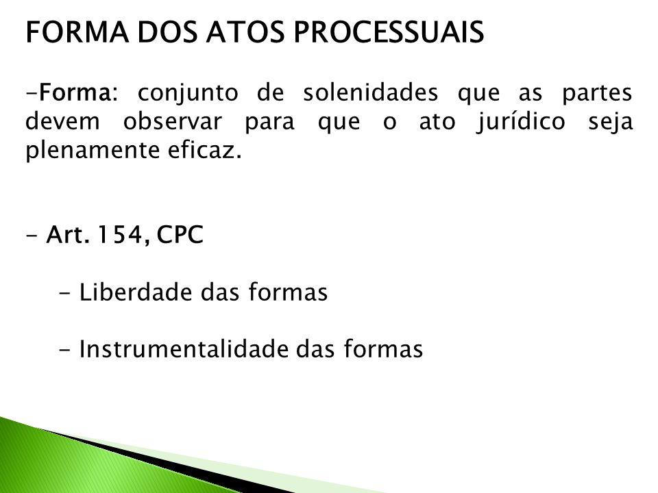 FORMA DOS ATOS PROCESSUAIS -Forma: conjunto de solenidades que as partes devem observar para que o ato jurídico seja plenamente eficaz. - Art. 154, CP