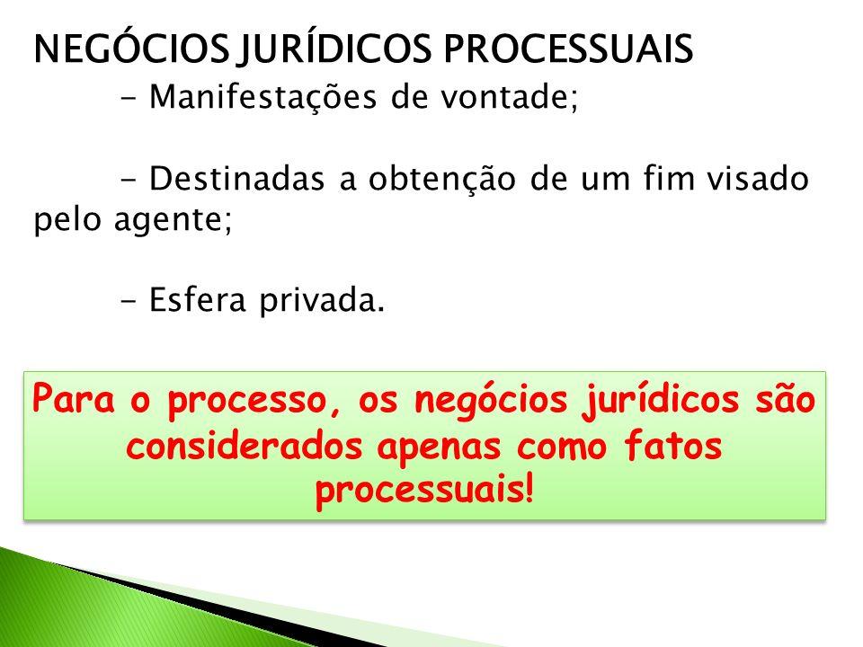 NEGÓCIOS JURÍDICOS PROCESSUAIS - Manifestações de vontade; - Destinadas a obtenção de um fim visado pelo agente; - Esfera privada. Para o processo, os