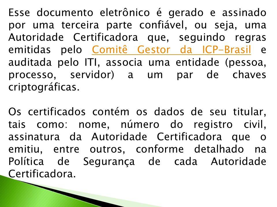 Esse documento eletrônico é gerado e assinado por uma terceira parte confiável, ou seja, uma Autoridade Certificadora que, seguindo regras emitidas pe