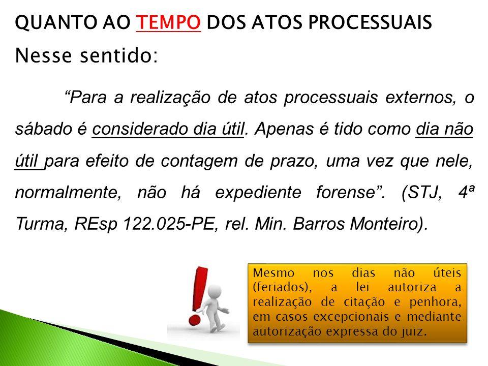 QUANTO AO TEMPO DOS ATOS PROCESSUAIS Nesse sentido: Para a realização de atos processuais externos, o sábado é considerado dia útil.