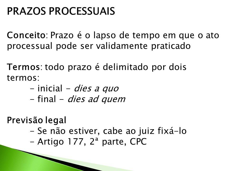 PRAZOS PROCESSUAIS Conceito: Prazo é o lapso de tempo em que o ato processual pode ser validamente praticado Termos: todo prazo é delimitado por dois