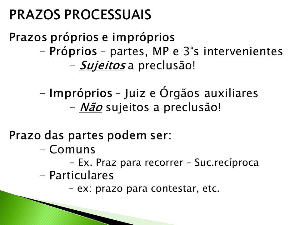 PRAZOS PROCESSUAIS Prazos próprios e impróprios - Próprios – partes, MP e 3°s intervenientes - Sujeitos a preclusão.