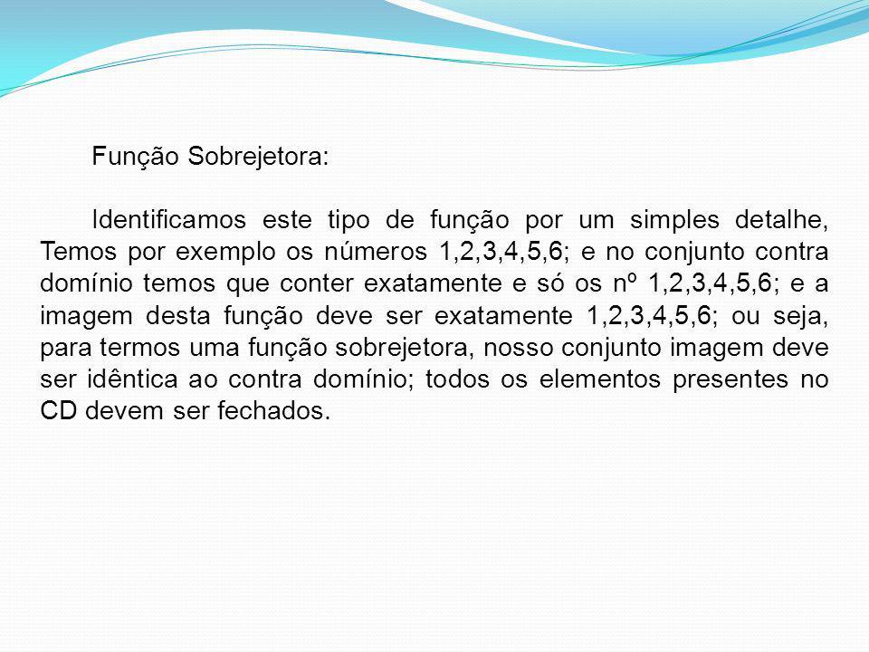 Função Sobrejetora: Identificamos este tipo de função por um simples detalhe, Temos por exemplo os números 1,2,3,4,5,6; e no conjunto contra domínio t