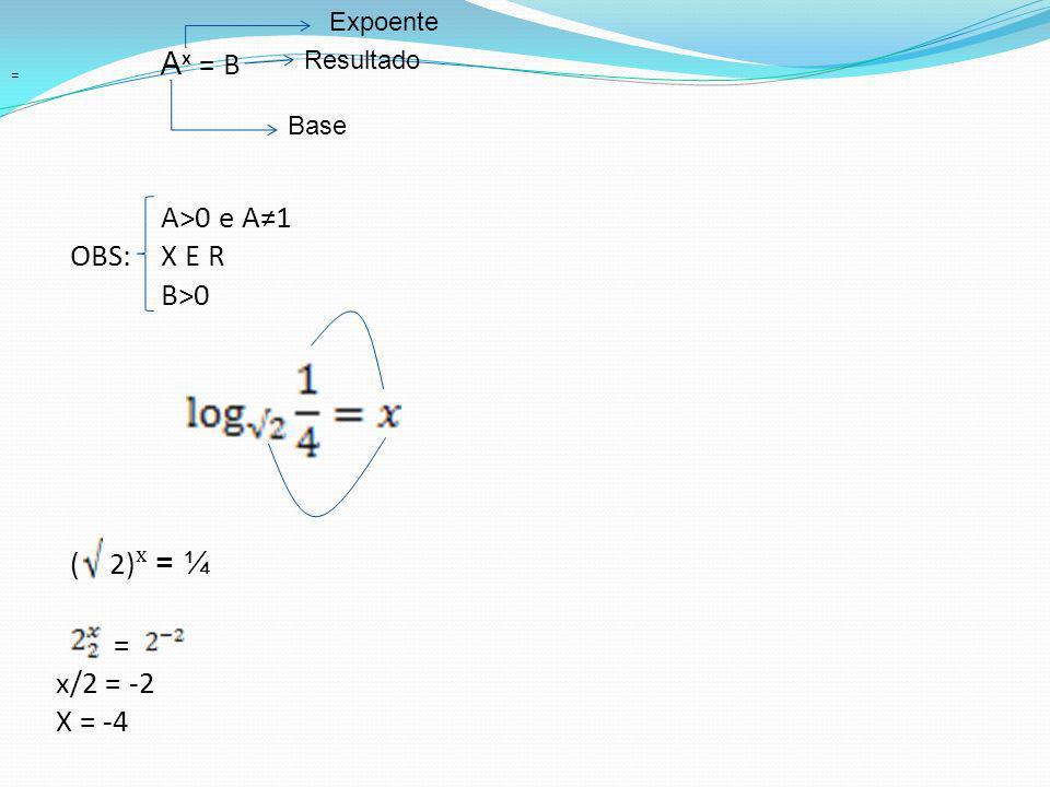 A ˣ = B A>0 e A1 OBS:X E R B>0 ( 2) ˣ = ¼ = x/2 = -2 X = -4 Base Resultado Expoente =