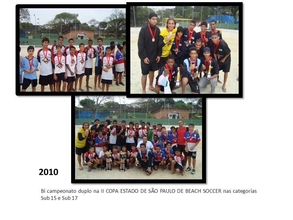 2010 Bi campeonato duplo na II COPA ESTADO DE SÃO PAULO DE BEACH SOCCER nas categorias Sub 15 e Sub 17