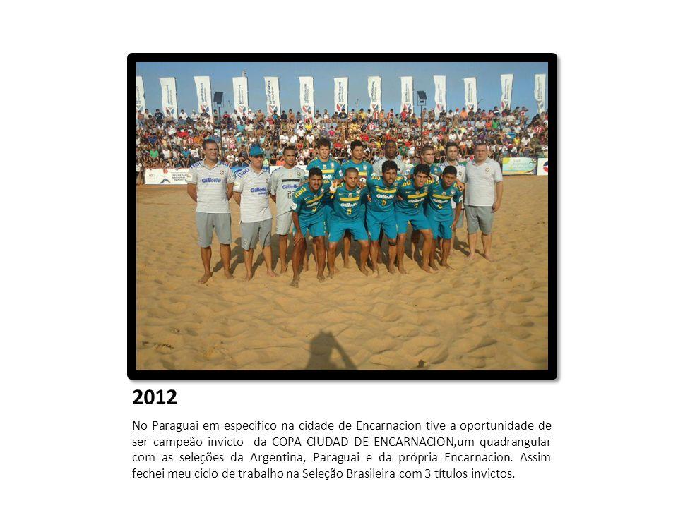 2012 No Paraguai em especifico na cidade de Encarnacion tive a oportunidade de ser campeão invicto da COPA CIUDAD DE ENCARNACION,um quadrangular com a