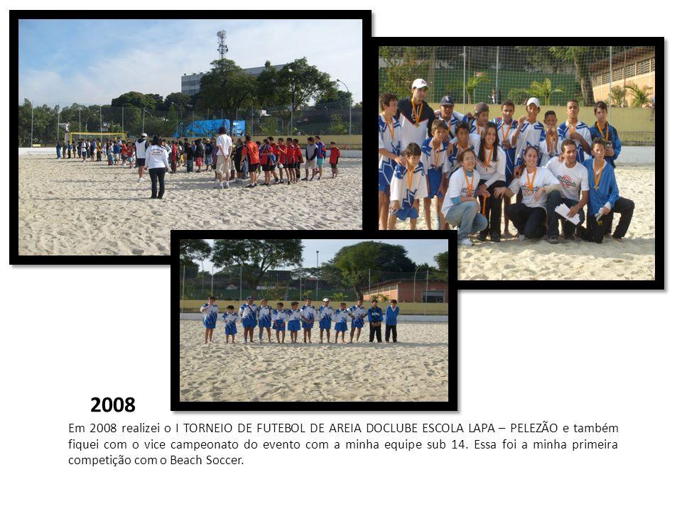 2008 Em 2008 realizei o I TORNEIO DE FUTEBOL DE AREIA DOCLUBE ESCOLA LAPA – PELEZÃO e também fiquei com o vice campeonato do evento com a minha equipe