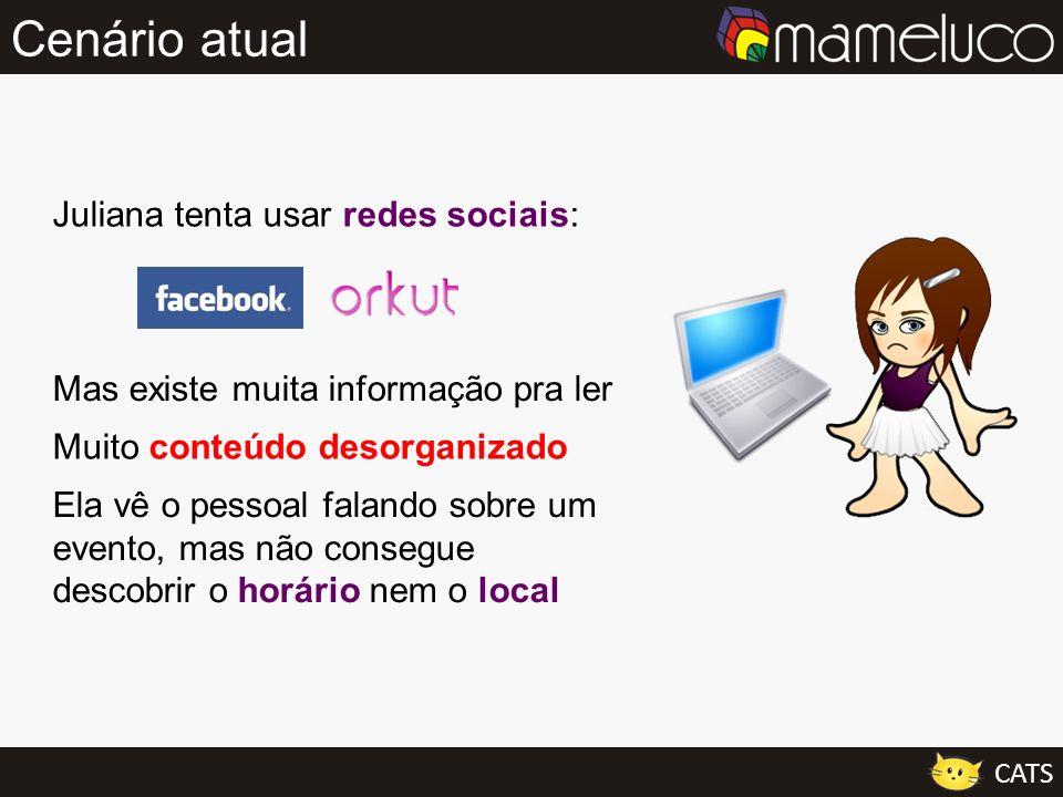 Cenário atual Juliana tenta usar redes sociais: Mas existe muita informação pra ler Muito conteúdo desorganizado Ela vê o pessoal falando sobre um eve