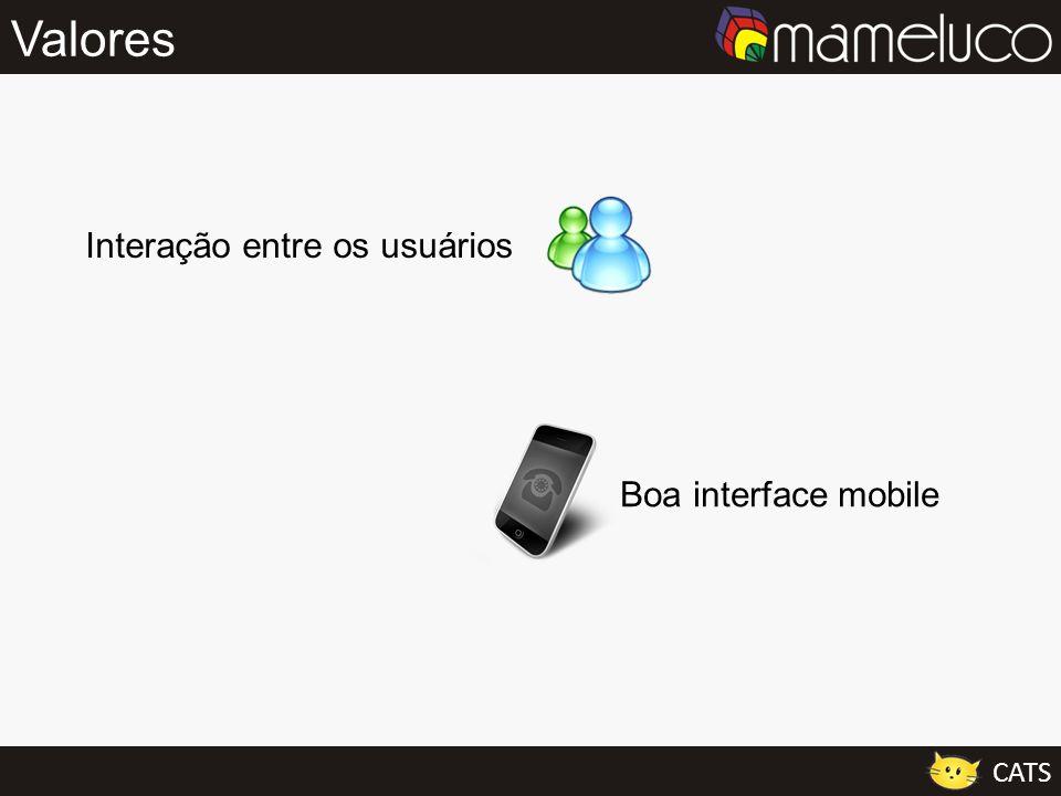 Valores Interação entre os usuários Boa interface mobile CATS