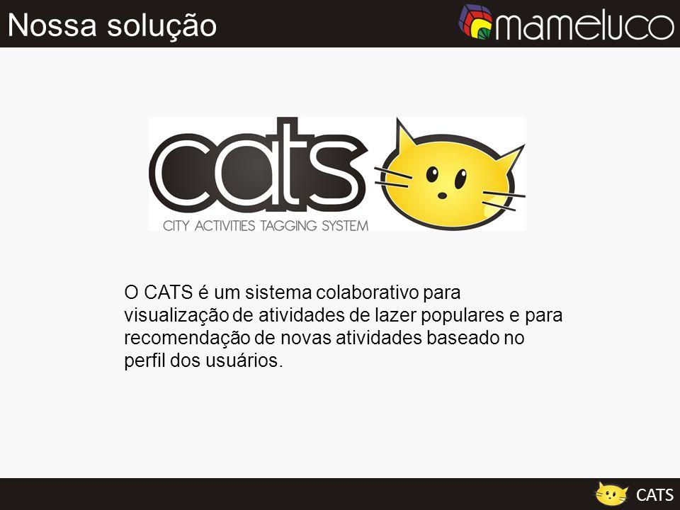 Nossa solução O CATS é um sistema colaborativo para visualização de atividades de lazer populares e para recomendação de novas atividades baseado no p