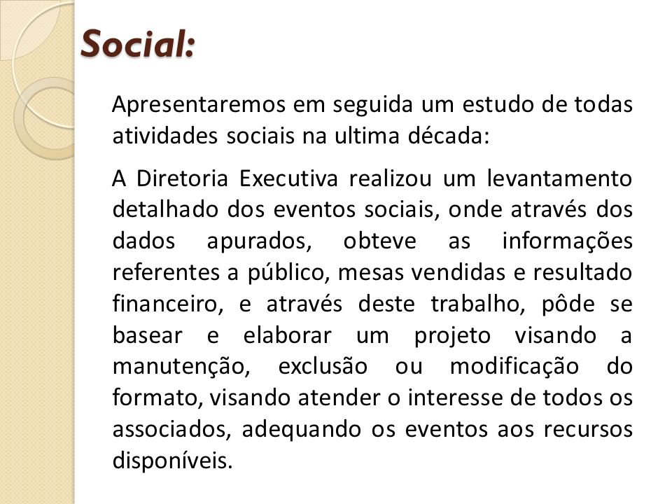 Apresentaremos em seguida um estudo de todas atividades sociais na ultima década: A Diretoria Executiva realizou um levantamento detalhado dos eventos