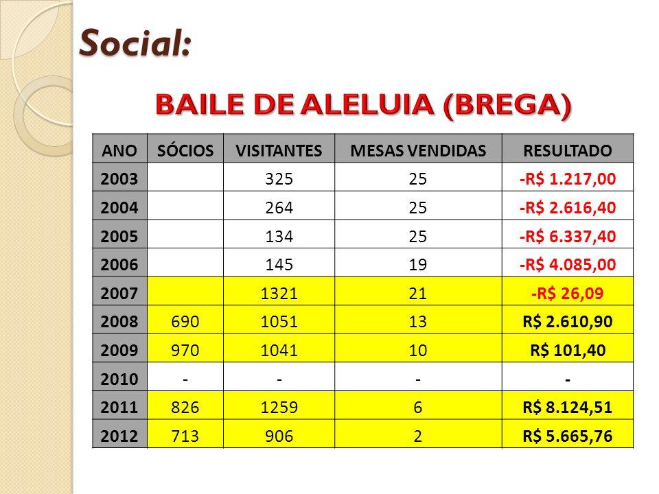 Social: ANOSÓCIOSVISITANTESMESAS VENDIDASRESULTADO 2003 32525-R$ 1.217,00 2004 26425-R$ 2.616,40 2005 13425-R$ 6.337,40 2006 14519-R$ 4.085,00 2007 13