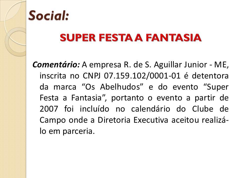 Social: Comentário: A empresa R. de S. Aguillar Junior - ME, inscrita no CNPJ 07.159.102/0001-01 é detentora da marca Os Abelhudos e do evento Super F