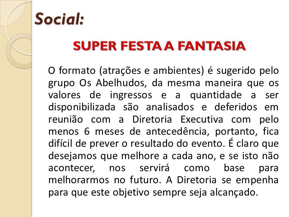 Social: O formato (atrações e ambientes) é sugerido pelo grupo Os Abelhudos, da mesma maneira que os valores de ingressos e a quantidade a ser disponi