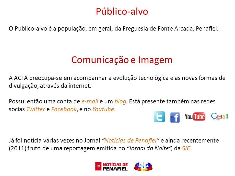 Público-alvo O Público-alvo é a população, em geral, da Freguesia de Fonte Arcada, Penafiel. Comunicação e Imagem A ACFA preocupa-se em acompanhar a e