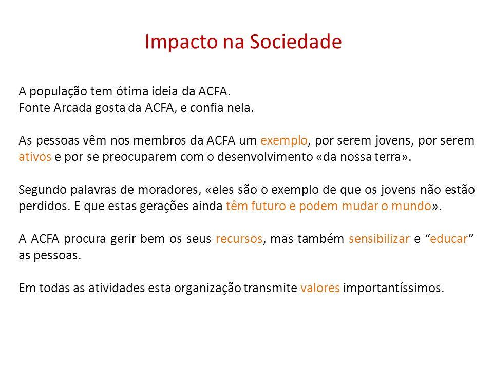 Impacto na Sociedade A população tem ótima ideia da ACFA. Fonte Arcada gosta da ACFA, e confia nela. As pessoas vêm nos membros da ACFA um exemplo, po