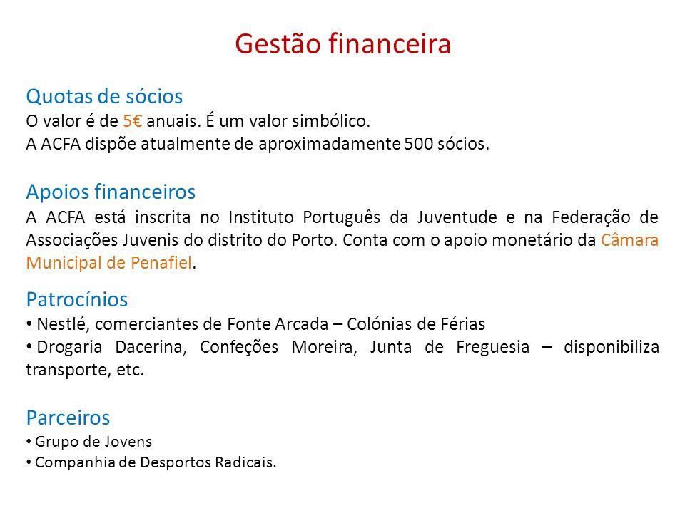 Gestão financeira Quotas de sócios O valor é de 5 anuais. É um valor simbólico. A ACFA dispõe atualmente de aproximadamente 500 sócios. Apoios finance