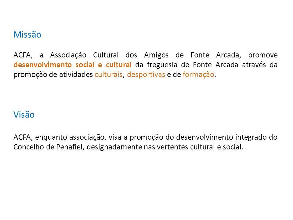 Missão ACFA, a Associação Cultural dos Amigos de Fonte Arcada, promove desenvolvimento social e cultural da freguesia de Fonte Arcada através da promo
