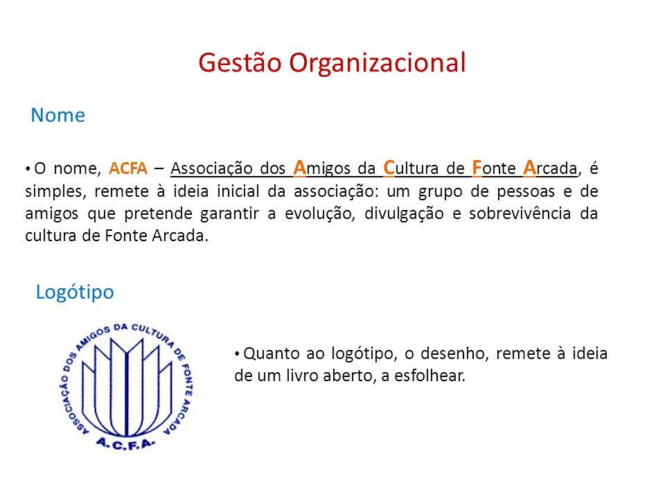 Gestão Organizacional Nome Quanto ao logótipo, o desenho, remete à ideia de um livro aberto, a esfolhear. Logótipo O nome, ACFA – Associação dos A mig