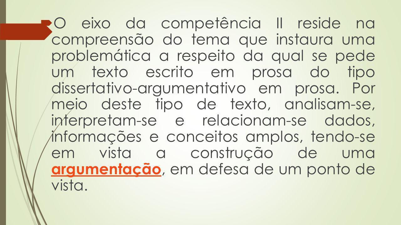 O eixo da competência II reside na compreensão do tema que instaura uma problemática a respeito da qual se pede um texto escrito em prosa do tipo diss