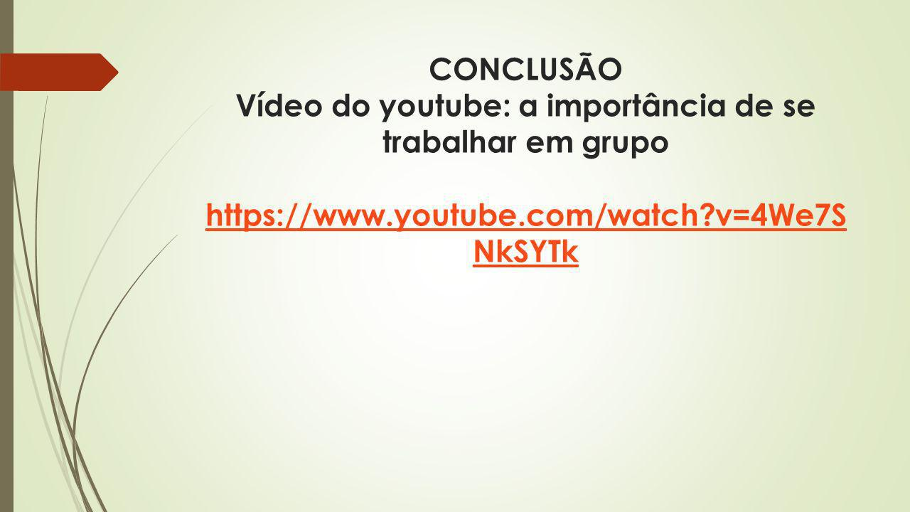 CONCLUSÃO Vídeo do youtube: a importância de se trabalhar em grupo https://www.youtube.com/watch?v=4We7S NkSYTk https://www.youtube.com/watch?v=4We7S