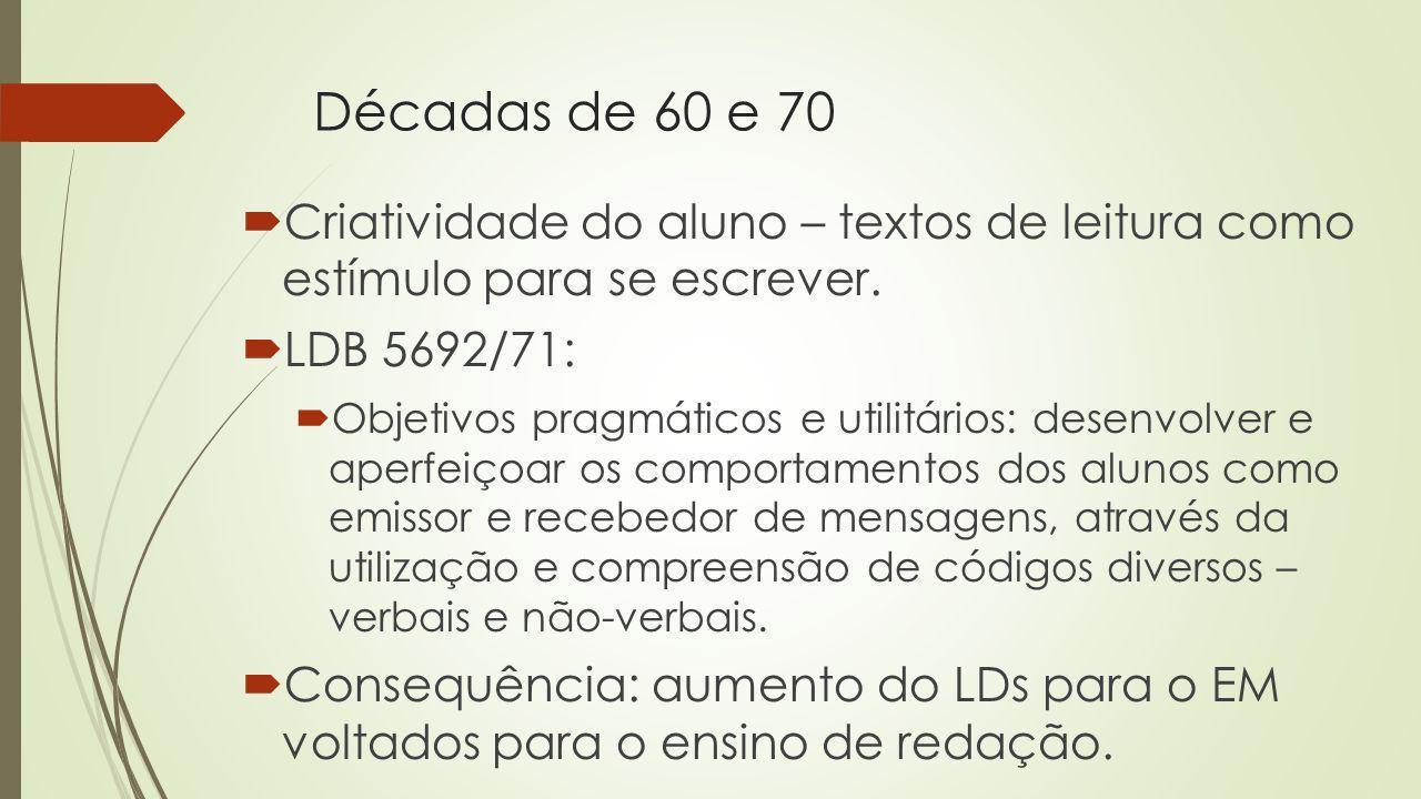 Décadas de 60 e 70 Criatividade do aluno – textos de leitura como estímulo para se escrever. LDB 5692/71: Objetivos pragmáticos e utilitários: desenvo