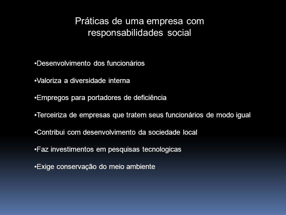 Práticas de uma empresa com responsabilidades social Desenvolvimento dos funcionários Valoriza a diversidade interna Empregos para portadores de defic