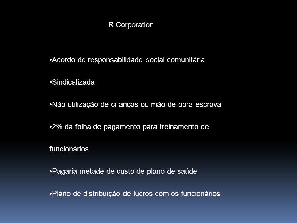 R Corporation Acordo de responsabilidade social comunitária Sindicalizada Não utilização de crianças ou mão-de-obra escrava 2% da folha de pagamento p