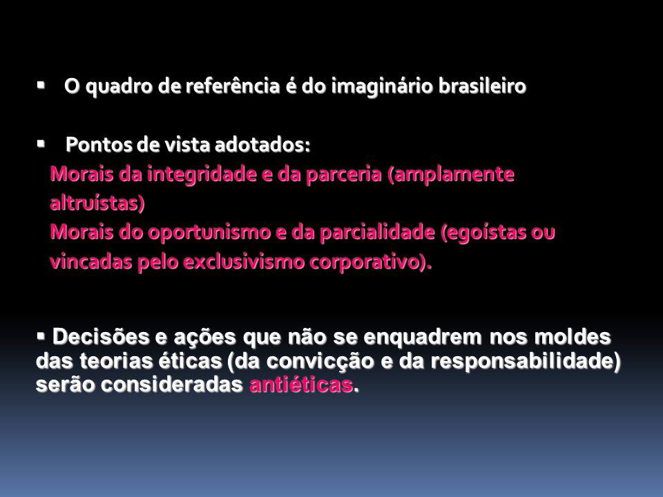 O quadro de referência é do imaginário brasileiro O quadro de referência é do imaginário brasileiro Pontos de vista adotados: Pontos de vista adotados