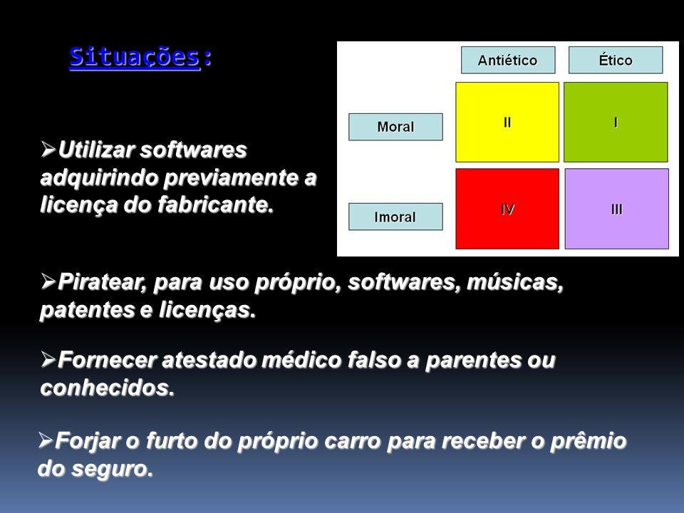 Situações: Utilizar softwares adquirindo previamente a licença do fabricante. Utilizar softwares adquirindo previamente a licença do fabricante. Forne